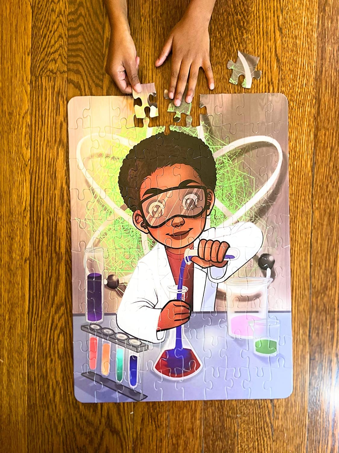 The puzzle with an illustration of someone using chemistry equipment