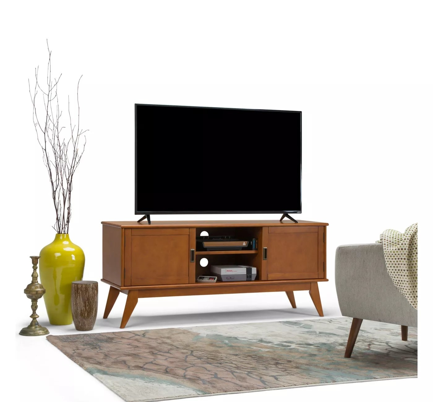 The wooden TV console