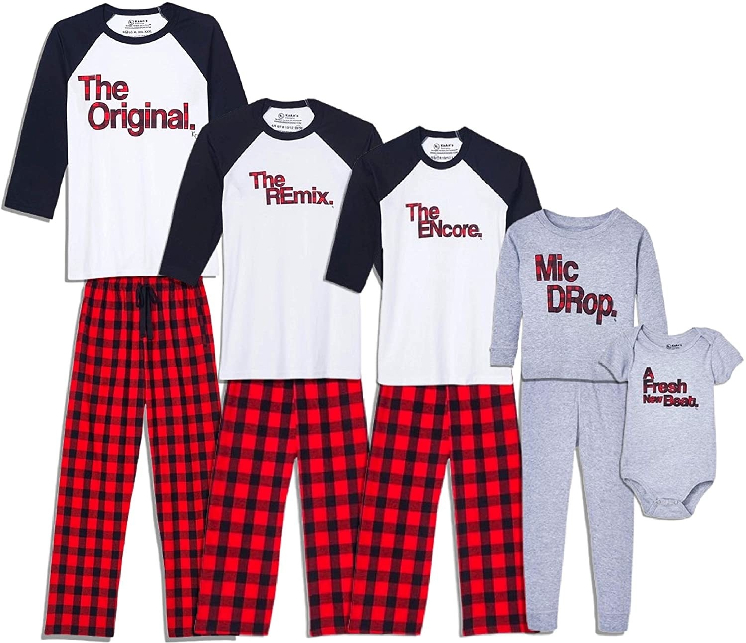 """The plaid and grey PJs that say """"The original, the Remix, the encore, mic drop, and a fresh new beat"""""""