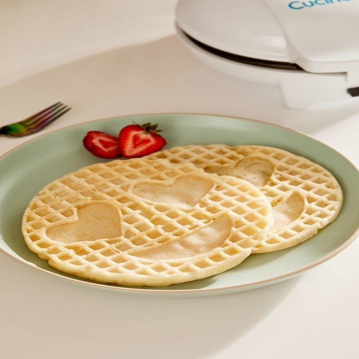 plate with two waffles made with the happy face waffle maker