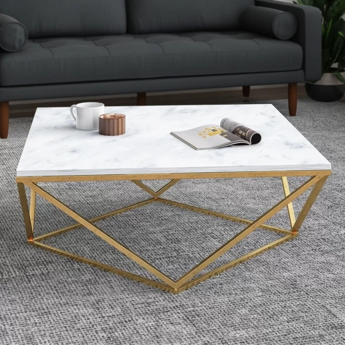 The table placed in front of the couch