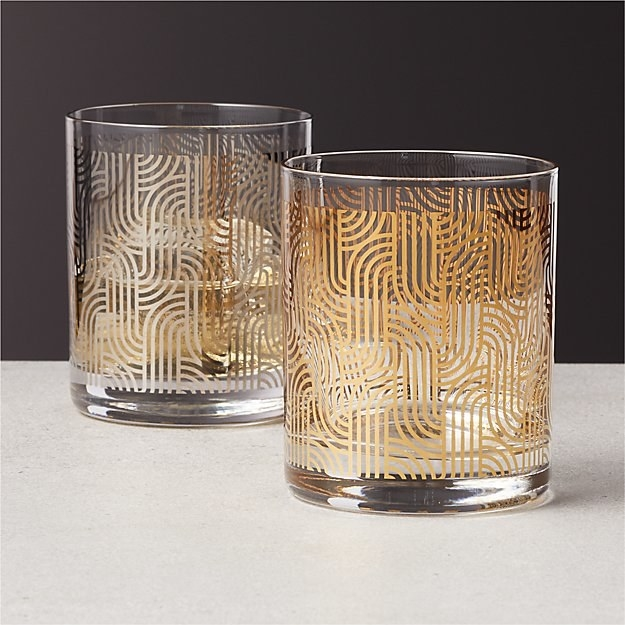two double old fashioned glasses with metallic abstract design on the glasses