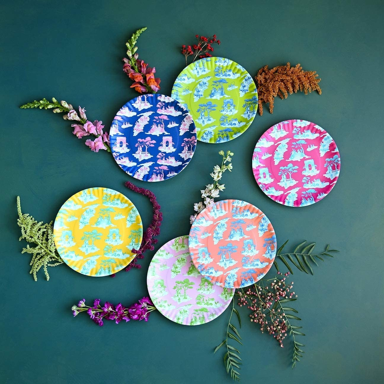 The six plates each in a different bright color