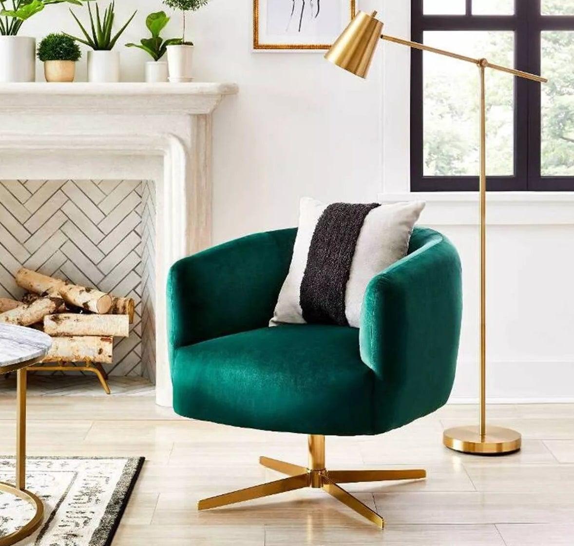 The dark green velvet swivel chair