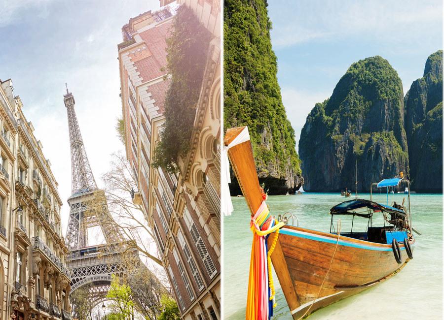 The Eiffel Tower in Paris and a beach in Thailand.
