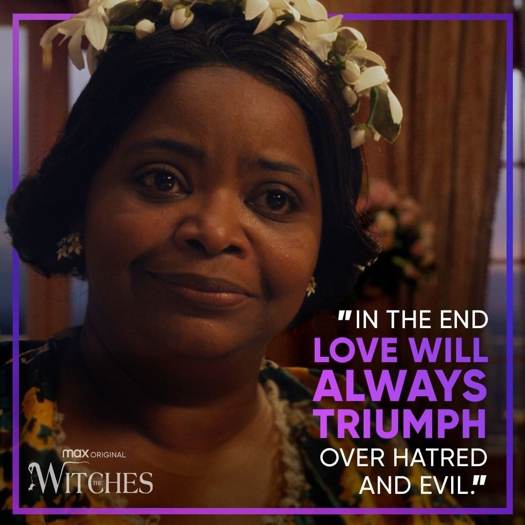 """Witches"" promo that reads ""in the end love will always triumph over hatred and evil"""