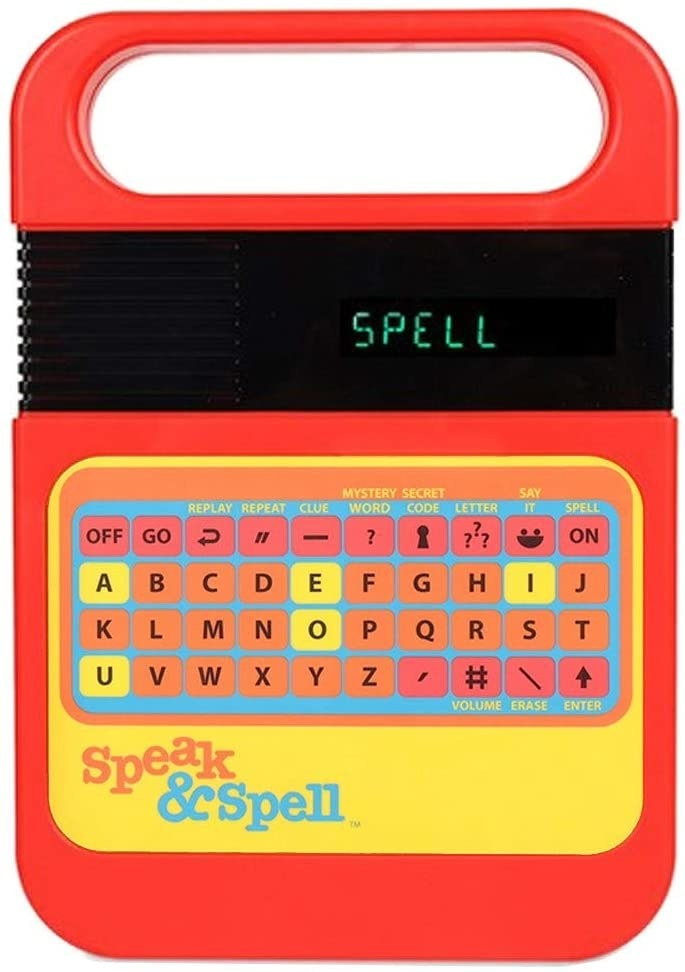 Red Speak & Spell toy with black screen