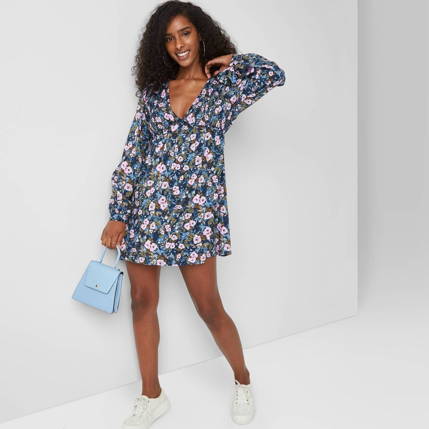 blue and pink floral mini dress
