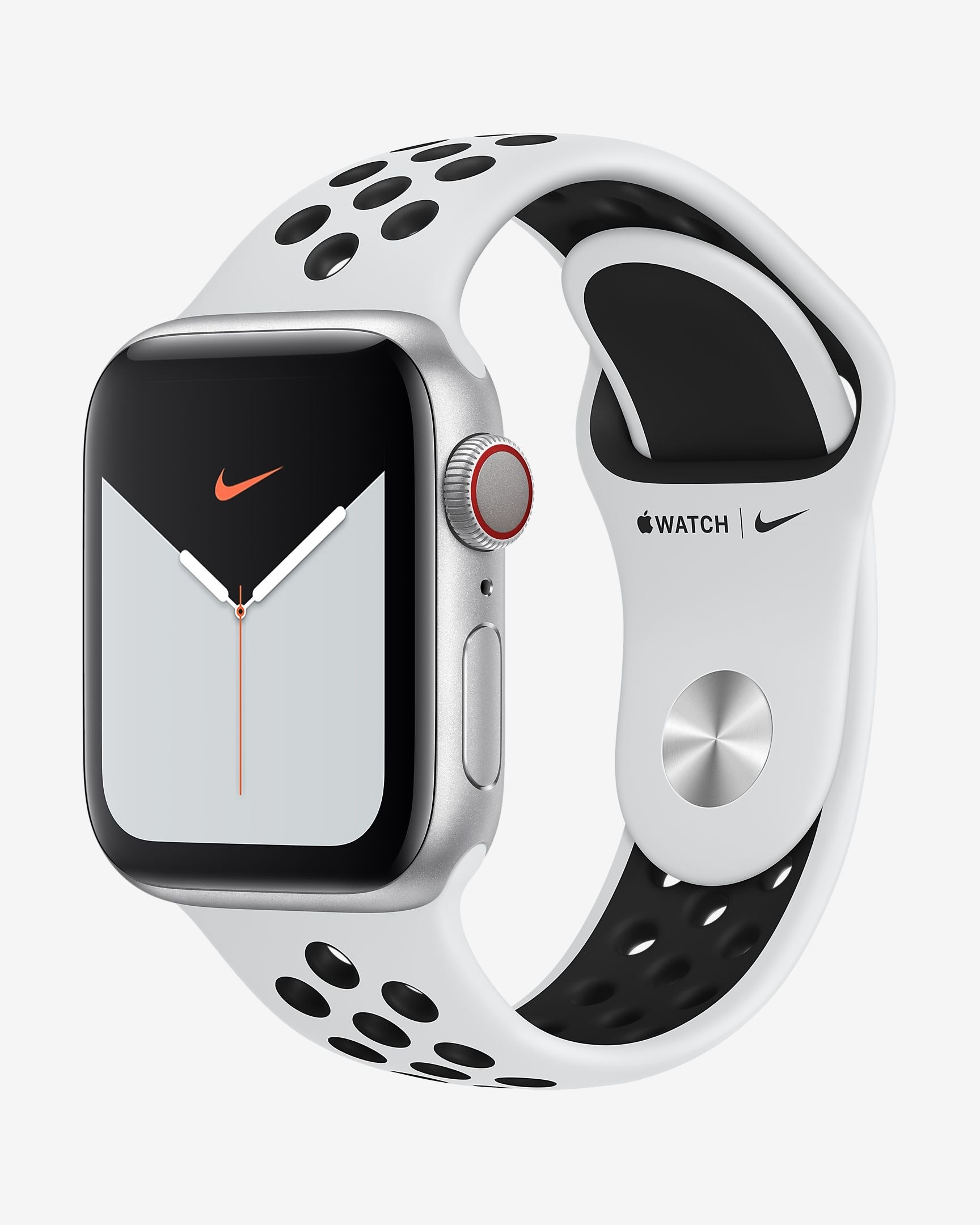 Silver apple watch with white wristband
