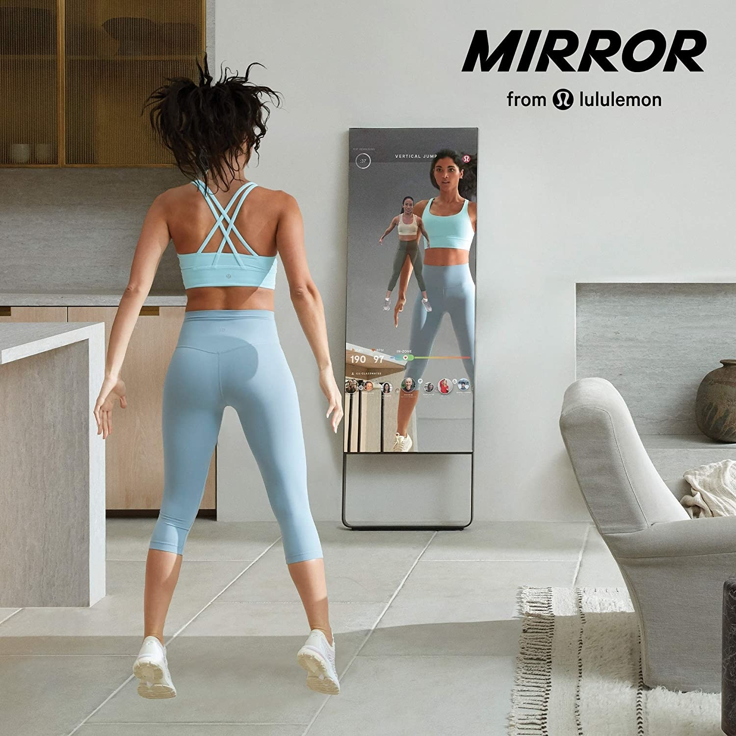 A model working out in the mirror