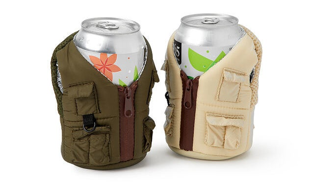 Two cans wrapped in the chill beer adventure vest in ranger green and khaki