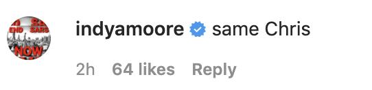 Actress Indya Moore tweeted 'same Chris'