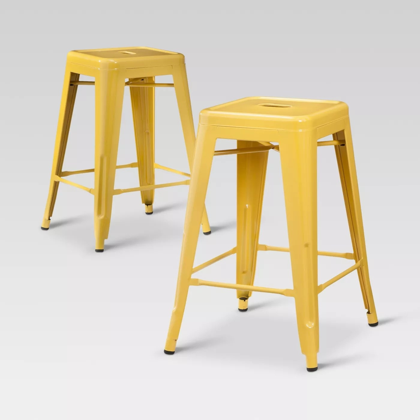 The yellow metal stools