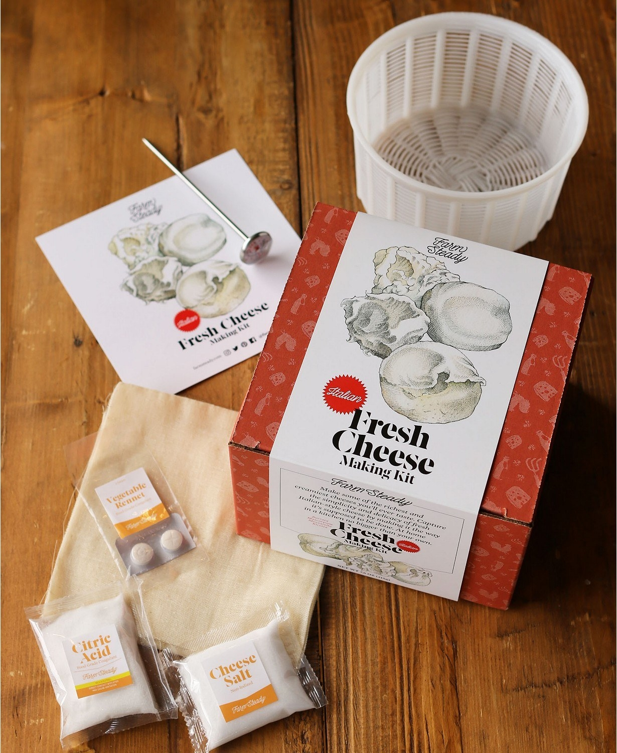 Packaging for all components of the cheese making kit