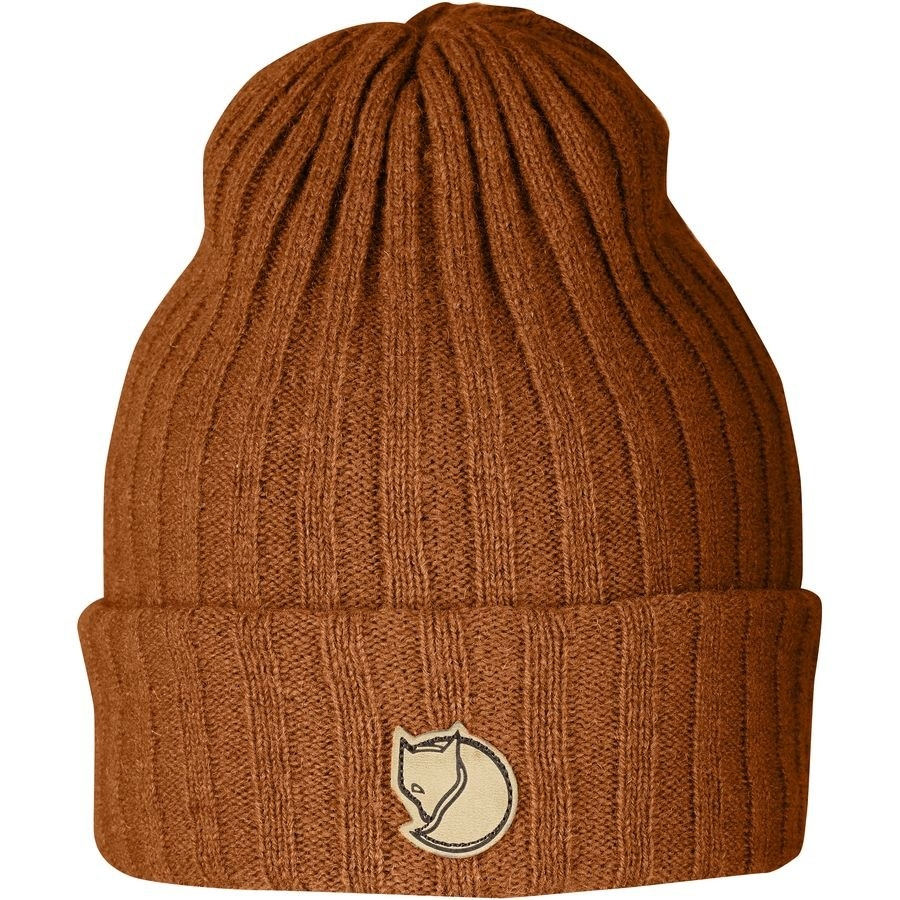 the hat in a reddish-brown color with a fox logo on the front