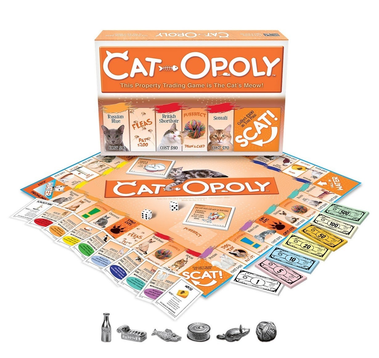 The Cat-Opoly game with its cards and tokens laid out