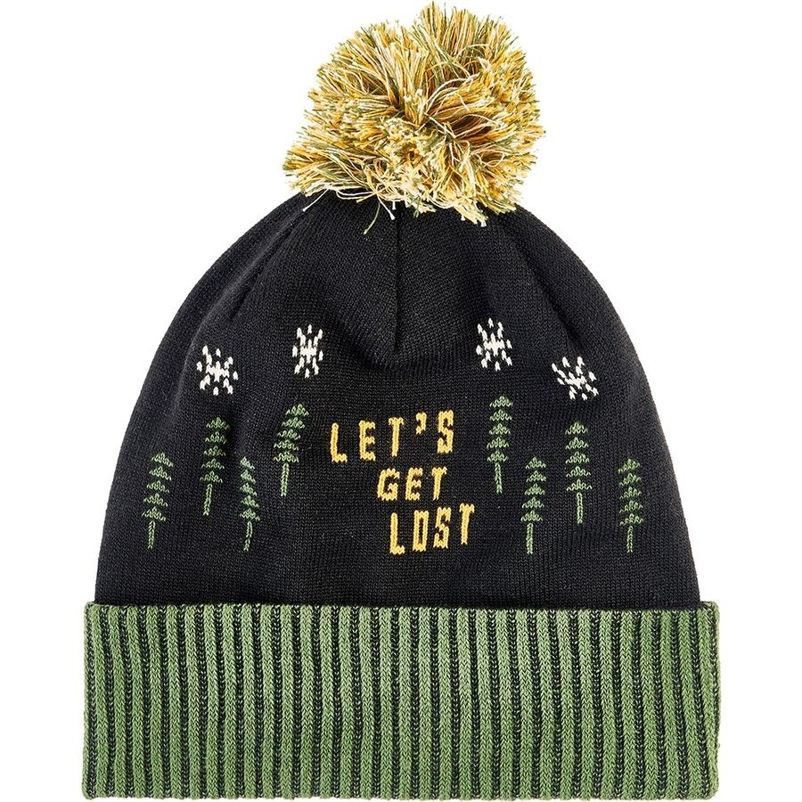 """a knit hat with trees, snowflakes, and the words """"let's get lost"""""""