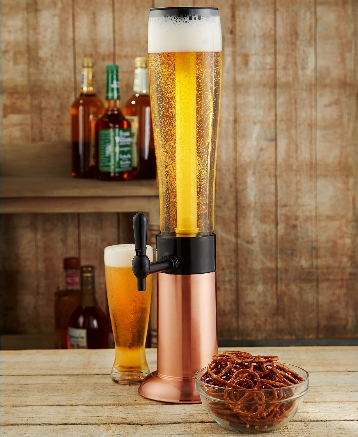 The beer tower with a spigot and ice rod