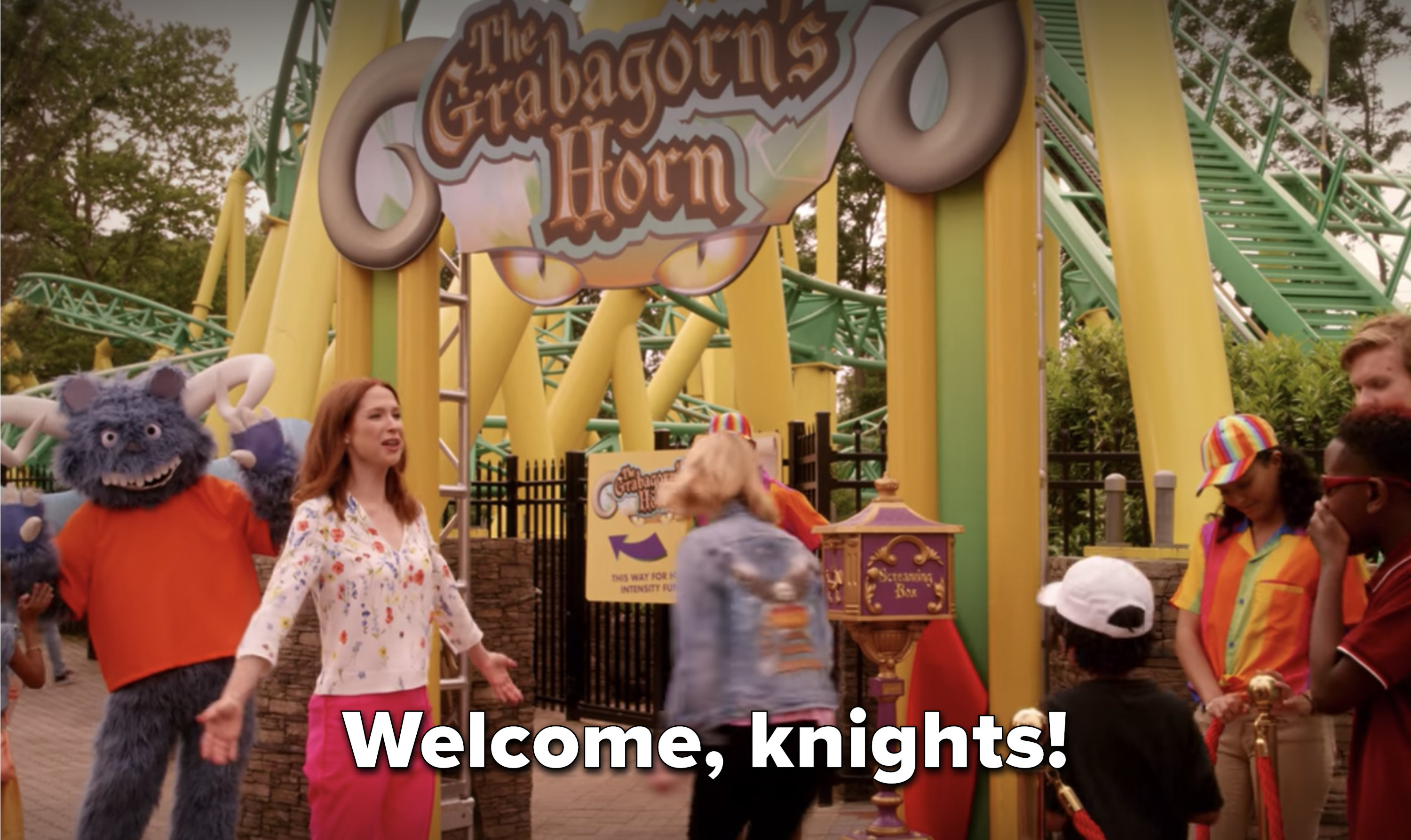 """at her theme park, Kimmy says """"Welcome, knights!"""""""