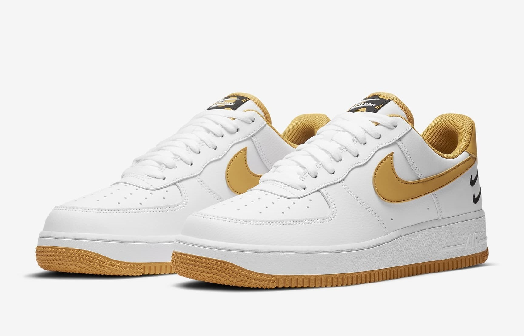 White AF1 with ginger color swoosh and sole