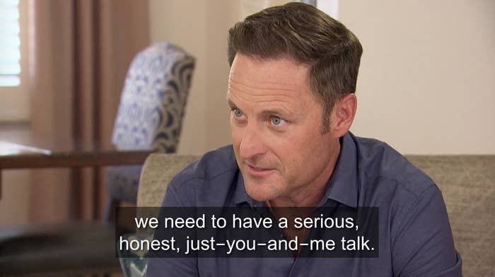 Chris Harrison talking with Clare.