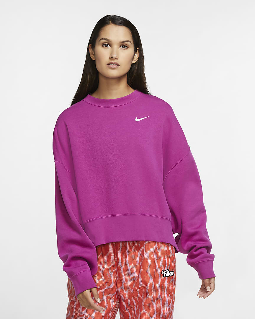 Model wearing a magenta colored sweatshirt