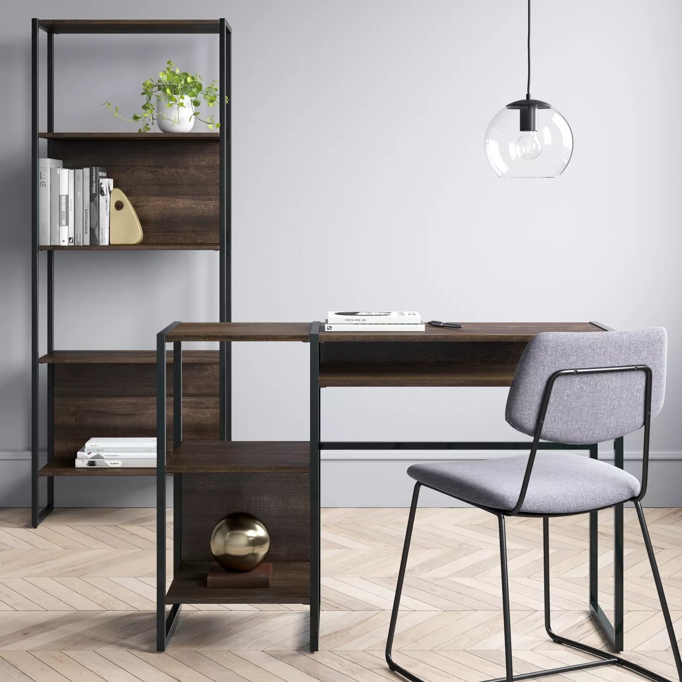 The wooden and black metal modern desk with two side storage spaces