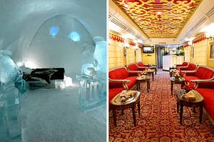 a hotel room made completely of ice; inside a luxurious train carriage