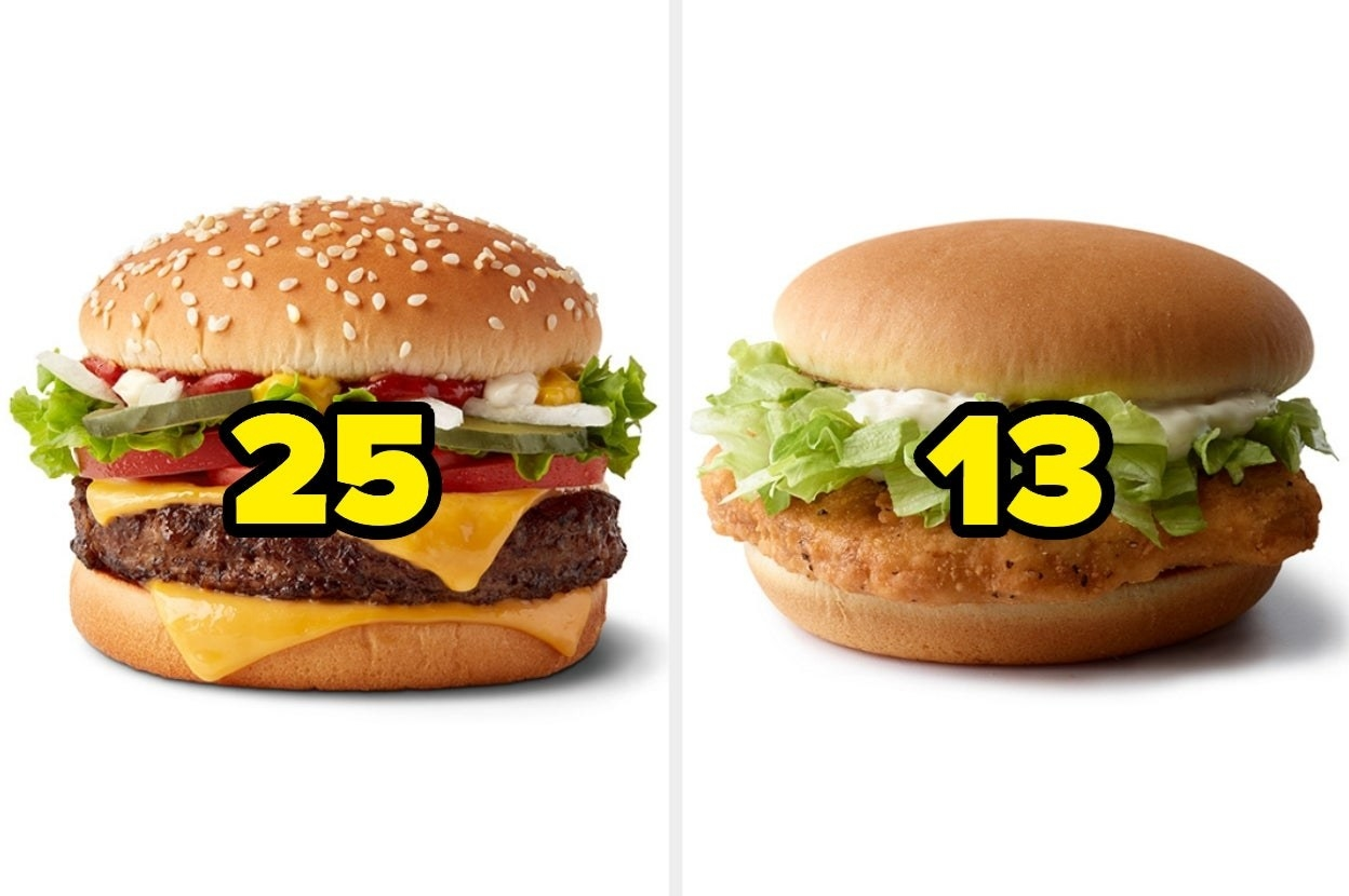 "A cheeseburger labeled ""23""and a chicken sandwich labeled ""13"""