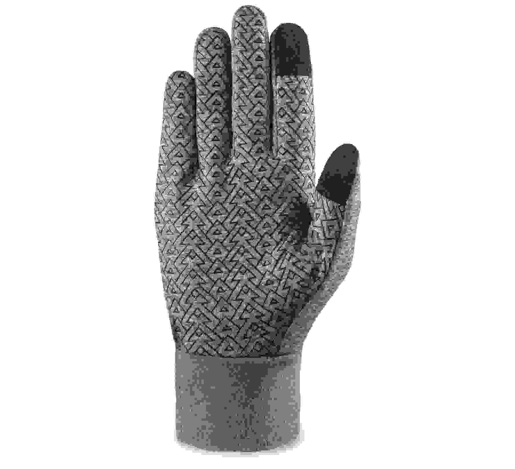 the black and gray glove with touchscreen-compatible fingers