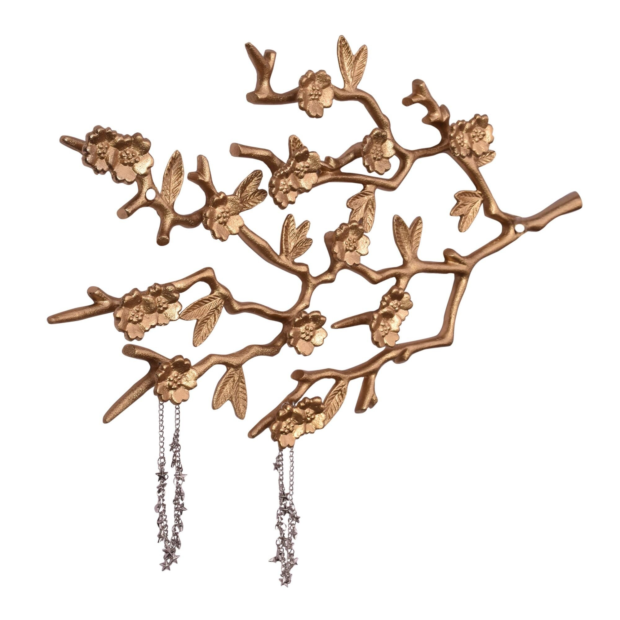 gold tone branch jewelry holder with two bracelets hanging off the branches