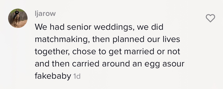 """""""We had senior weddings, we did matchmaking, then planned our lives together, chose to get married or not and then carried around an egg as our fake baby"""""""