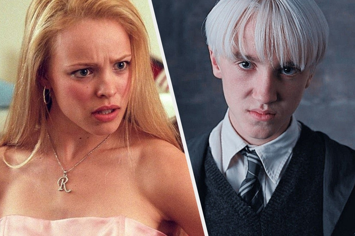 Regina George and Draco Malfoy scowling
