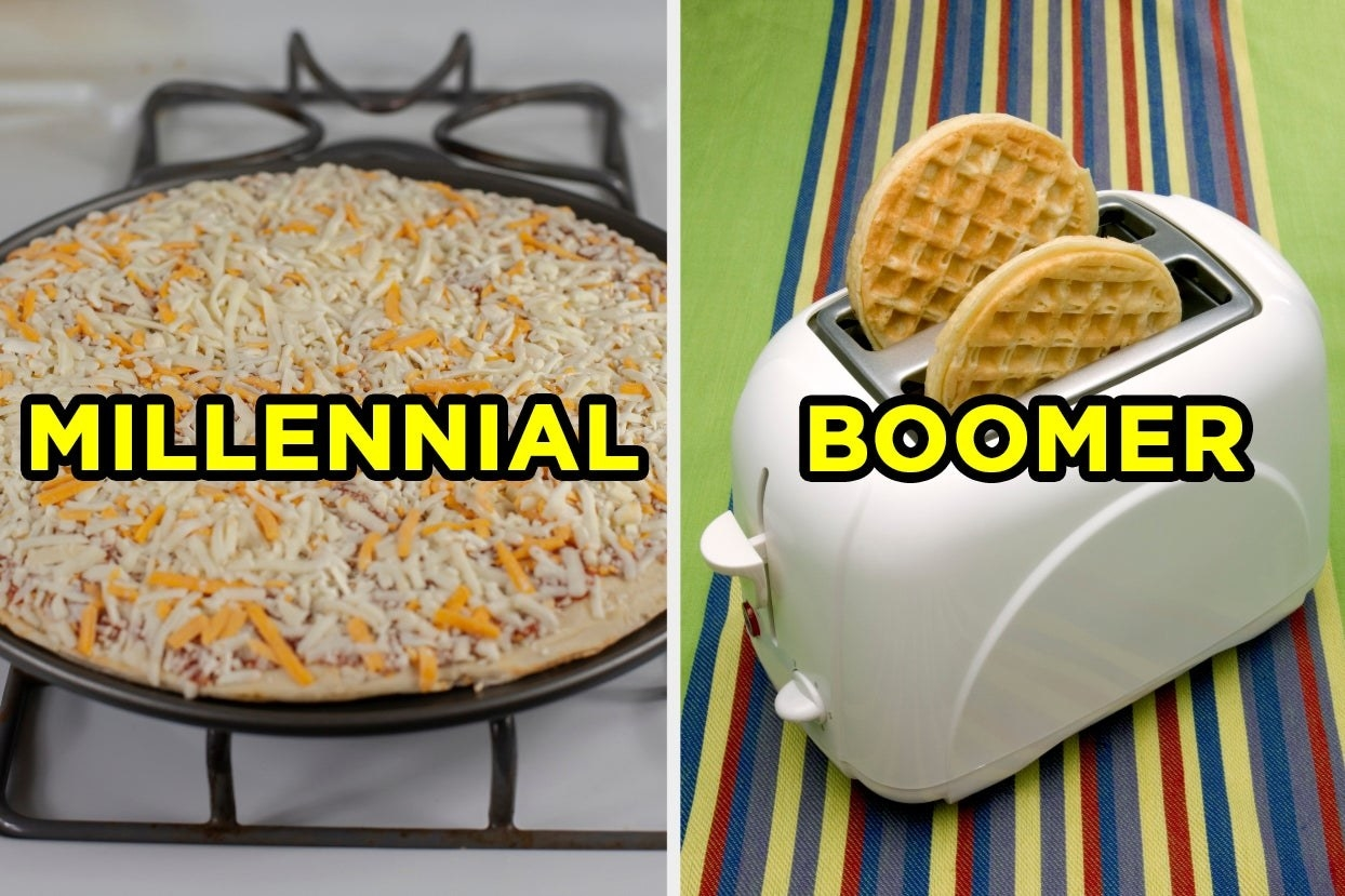 "On the left, a frozen cheese pizza labeled ""millennial,"" and on the right, two frozen waffles in a toaster labeled ""boomer"""