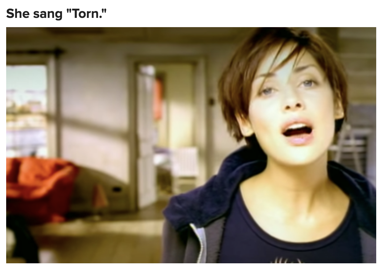 """A still from Natalie Imbruglia's music video for """"Torn"""""""