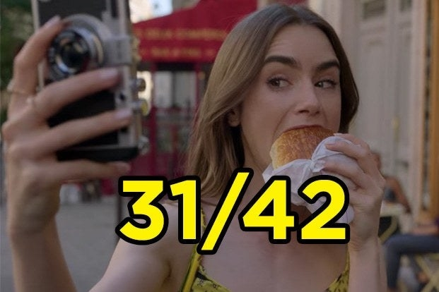 "Emily from ""Emily in Paris"" taking a selfie of her eating a croissant"