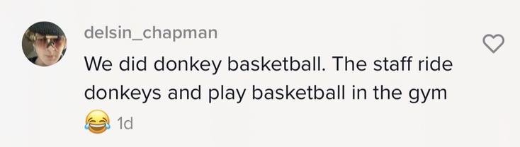 """""""We did donkey basketball. The staff ride donkeys and play basketball in the gym [emoji laughing while crying]"""