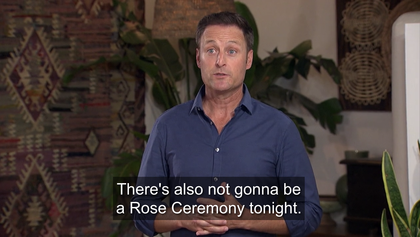 Chris telling the suitors that there's no rose ceremony.