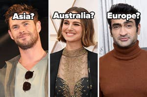 Side-by-side images of Chris Hemsworth, Natalie Portman, and Kumail Nanjiani with the questions
