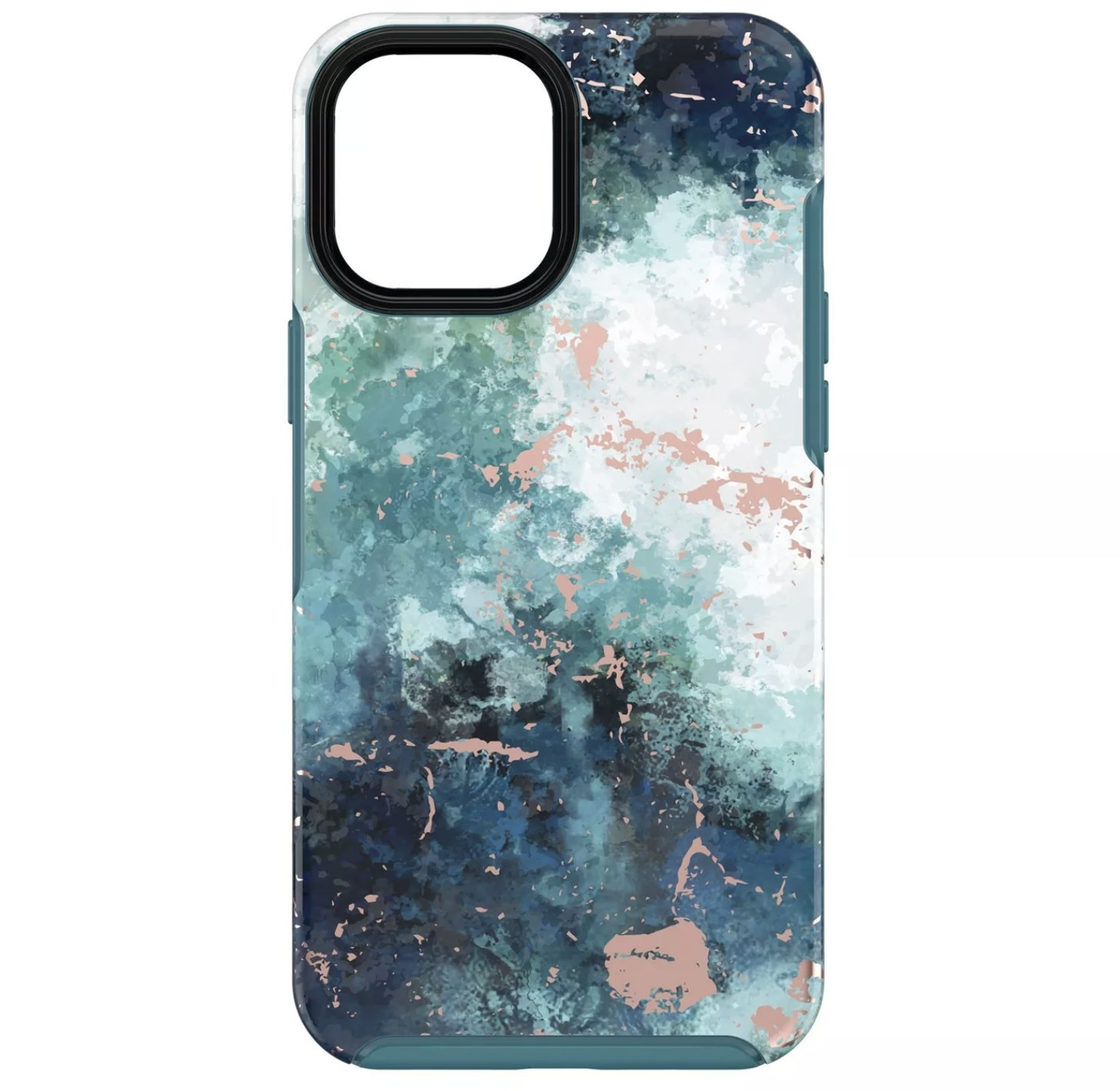 The phone case with a sea foam design