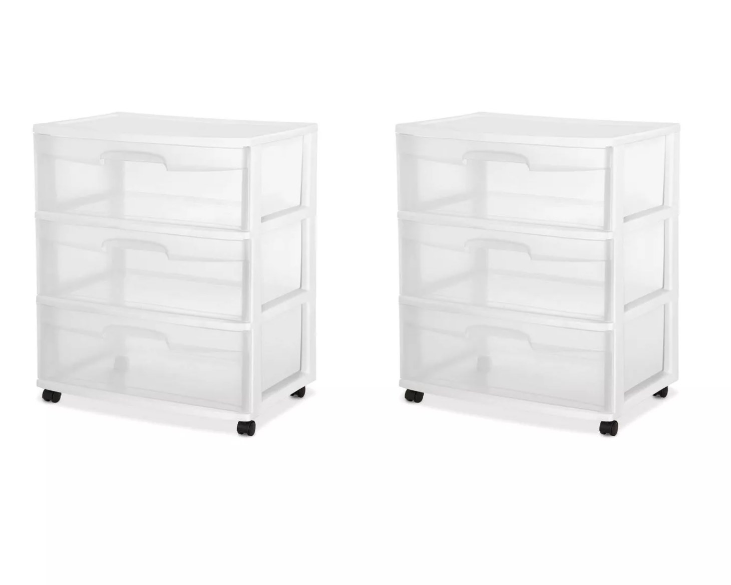 Two white and clear drawer containers