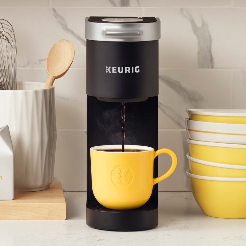 The Keurig brewing a single cup of coffee