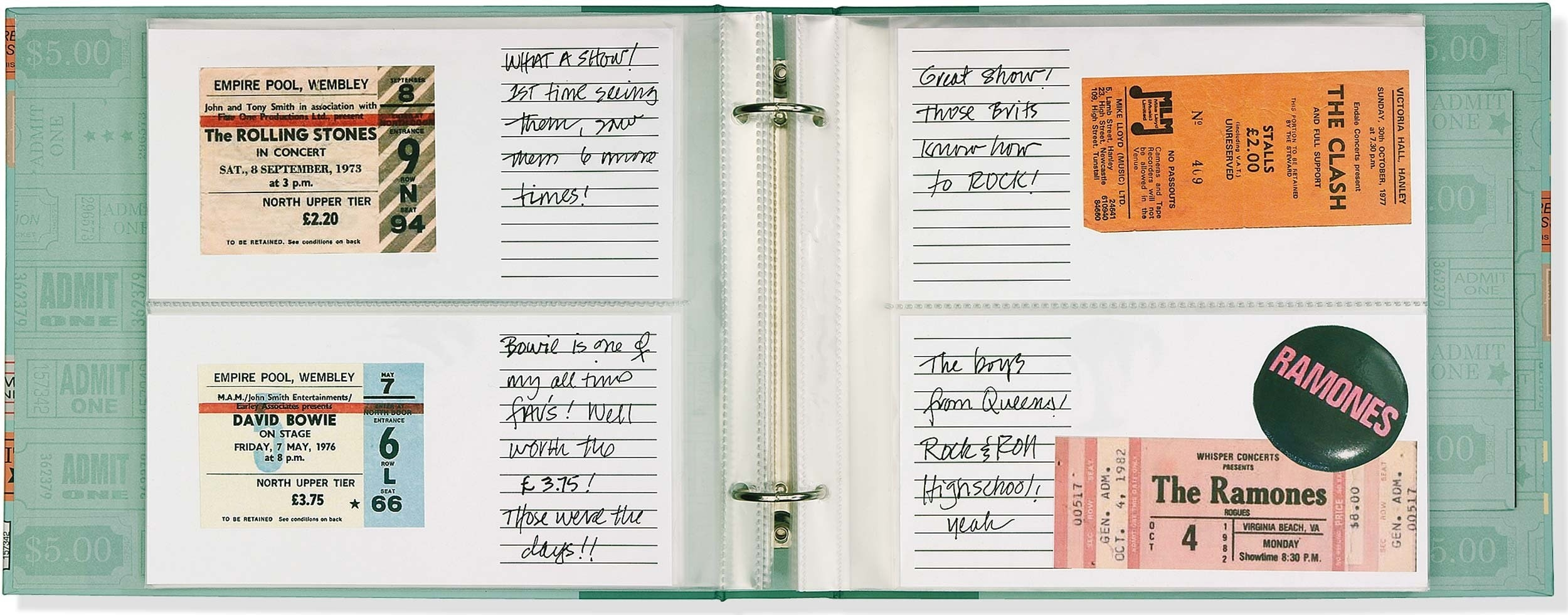Open notebook with sections for putting a ticket then writing a note beside it