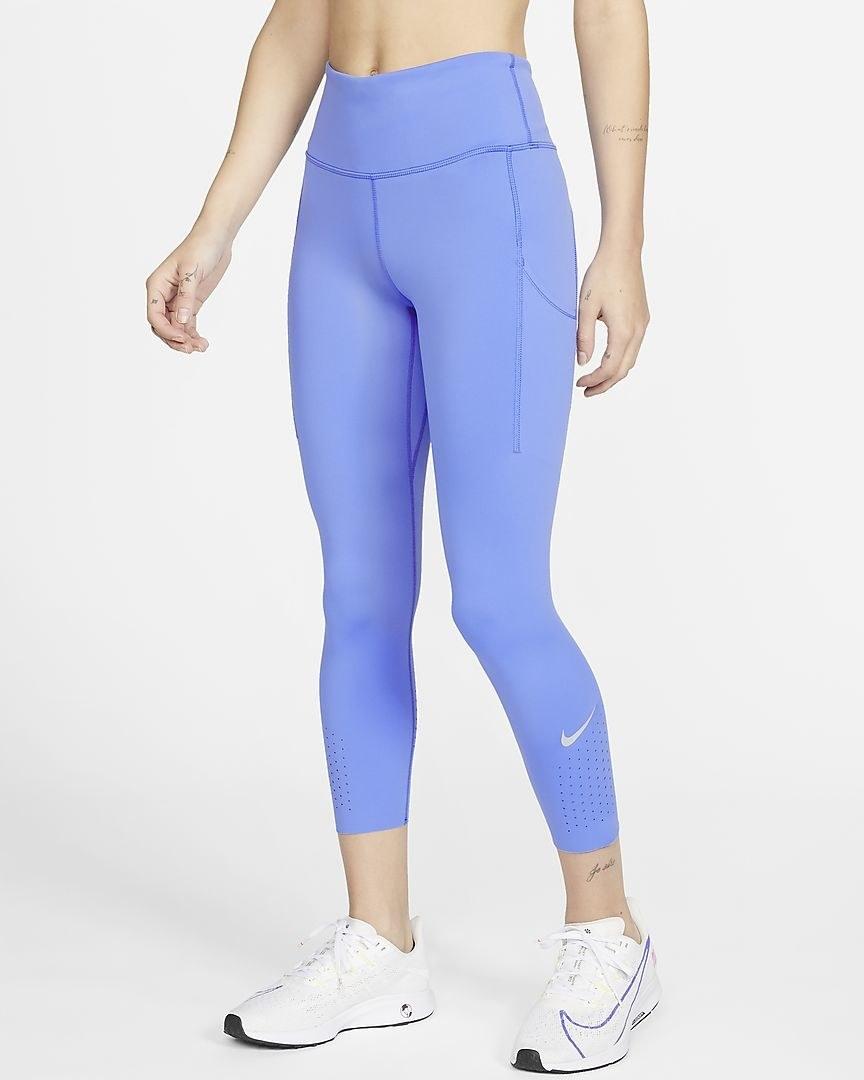 Model wearing periwinkle colored leggings