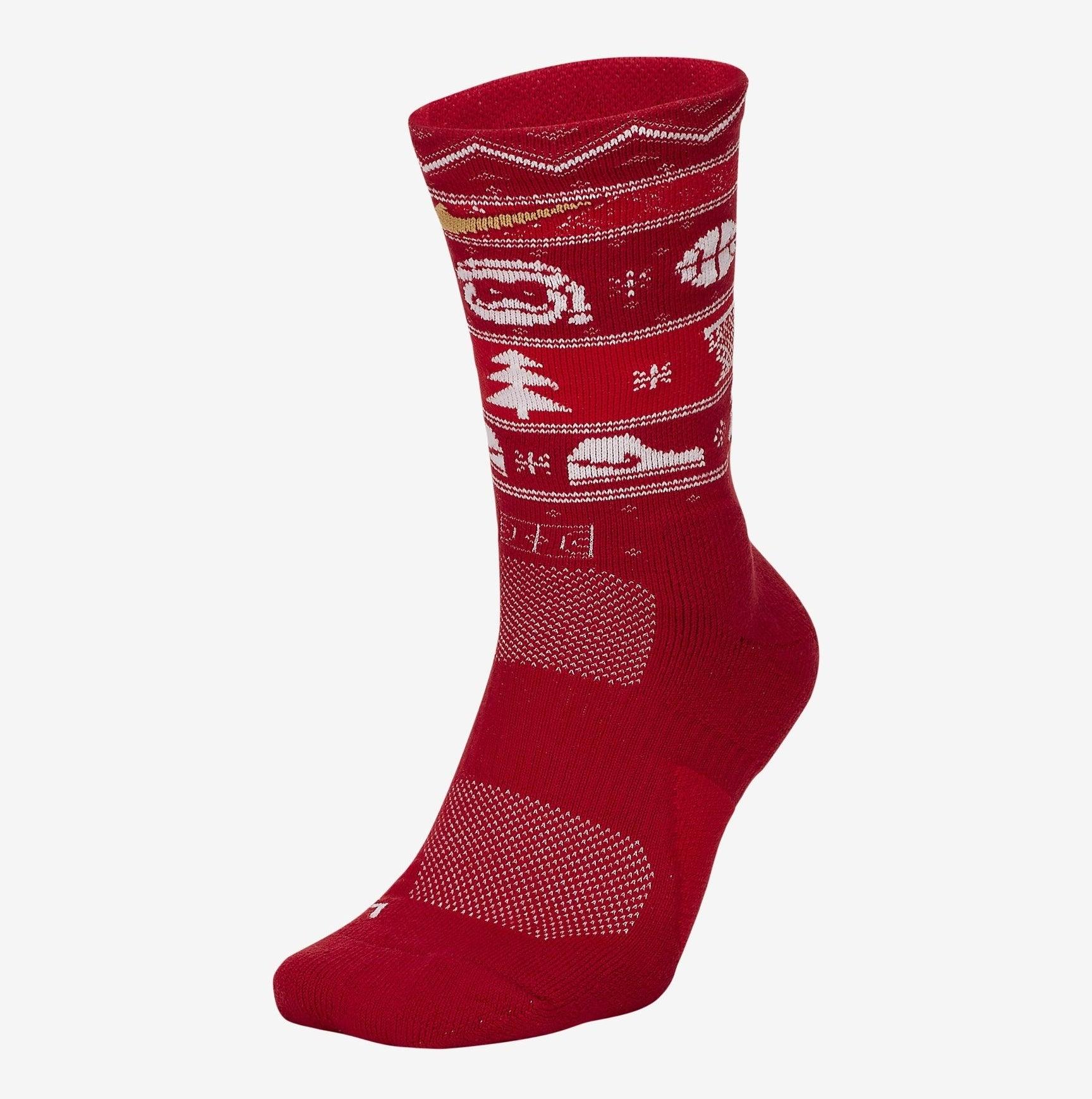 Red elite socks with Christmas basketball iconography