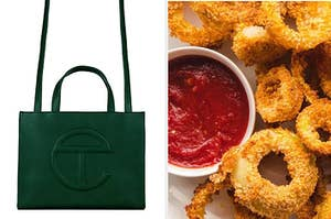 A Telfar bag / crunchy onion rings