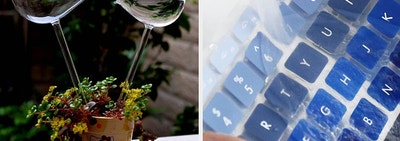split thumbnail of plant watering globes in the shape of birds, person washing a laptop keyboard cover