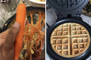 A shaved carrot and a waffle maker