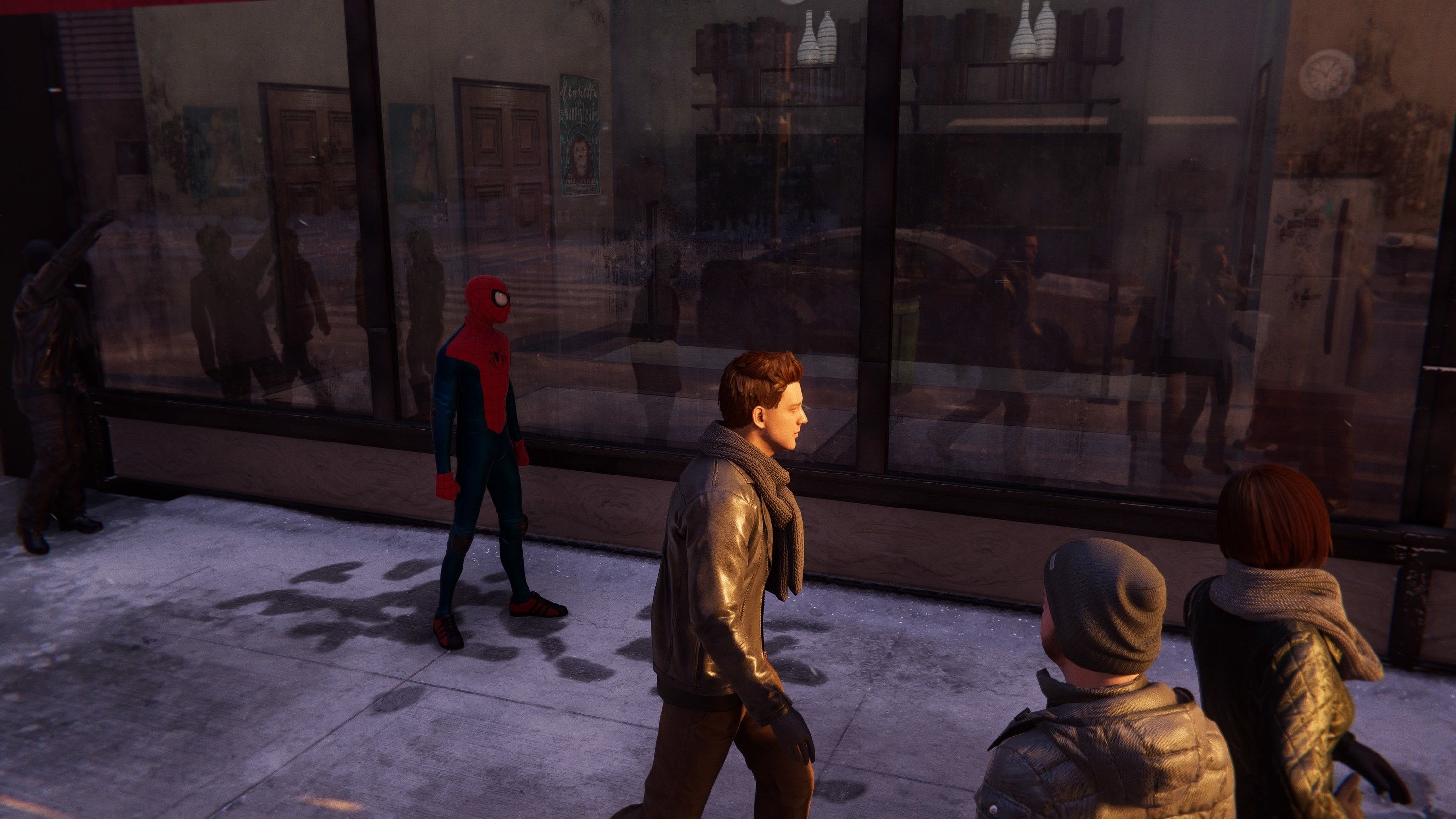 Spider-Man stands in front of a window that reflects him and people around him