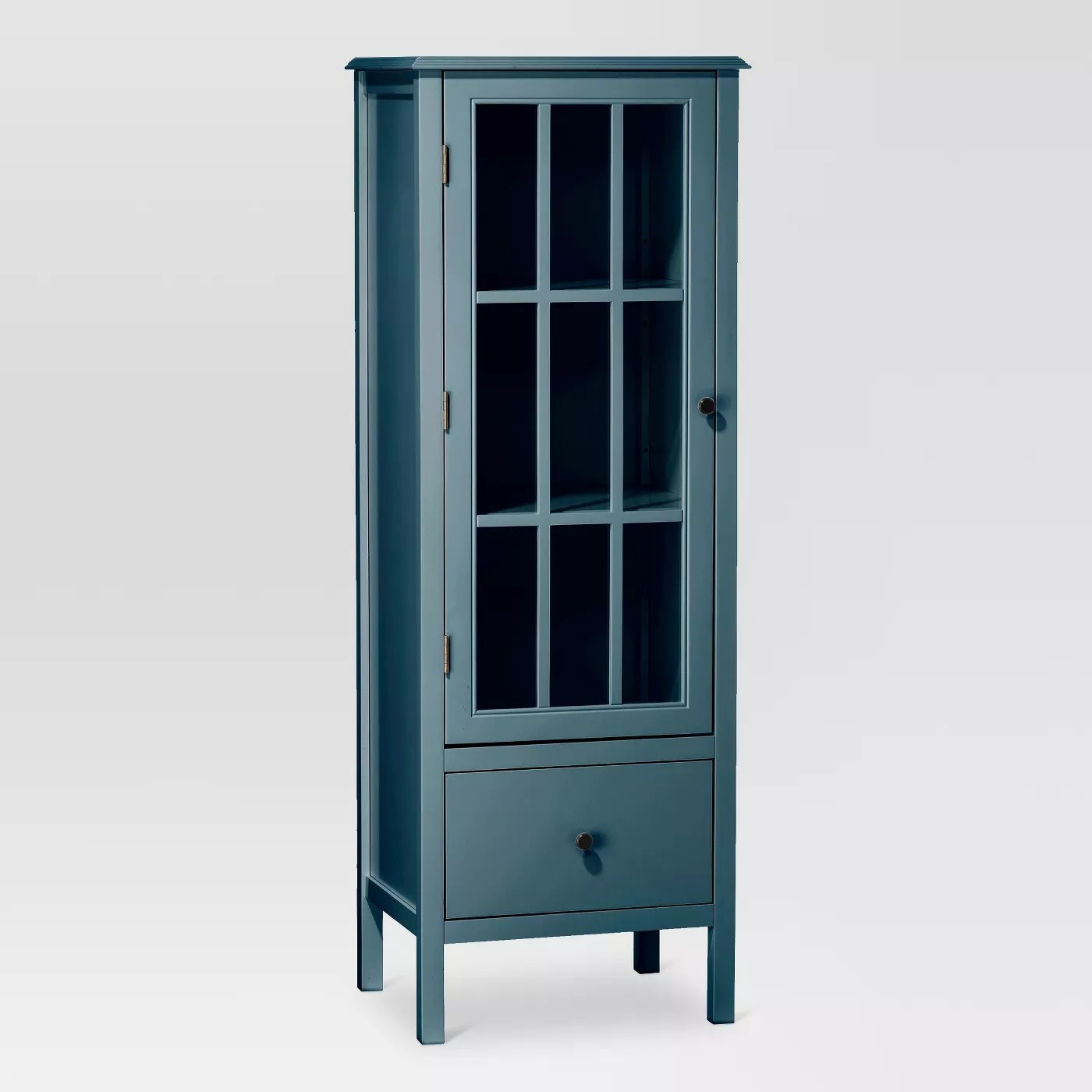 The blue cabinet with window